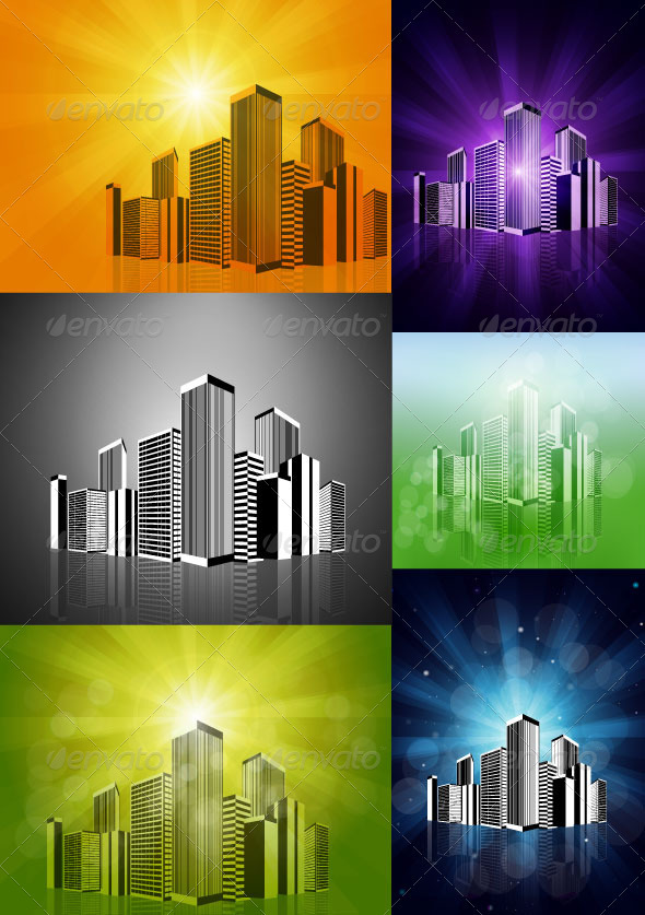 Vector Cityscape On Rays Background - Buildings Objects