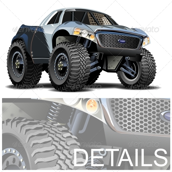 Vector Cartoon Buggy - Man-made Objects Objects
