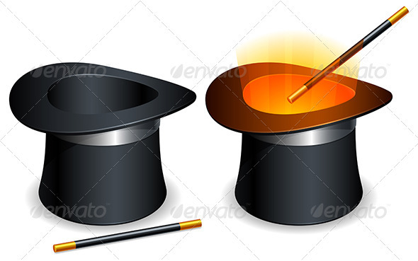 Magic Hat and Wand - Miscellaneous Vectors