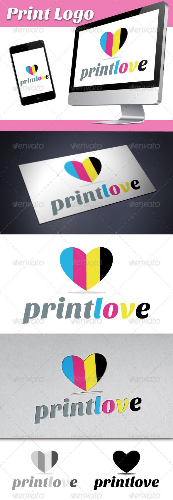Print Love Logo - Symbols Logo Templates