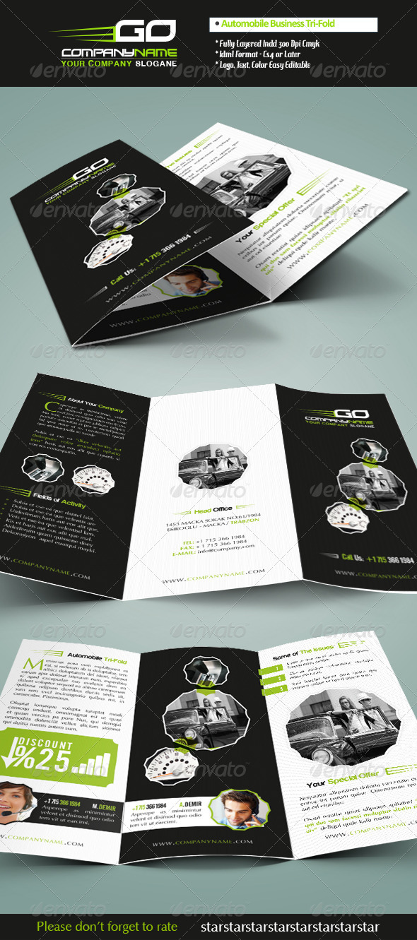 Automobile Business Tri-Fold - Brochures Print Templates