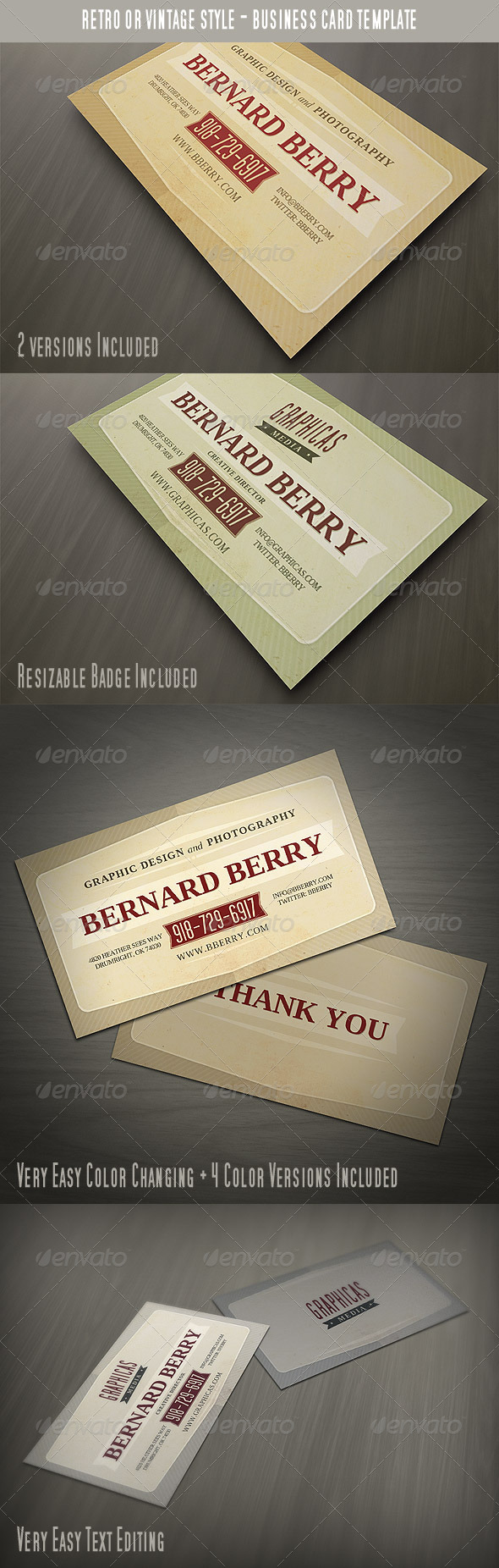 Retro or Vintage Style Business Card by vilord | GraphicRiver