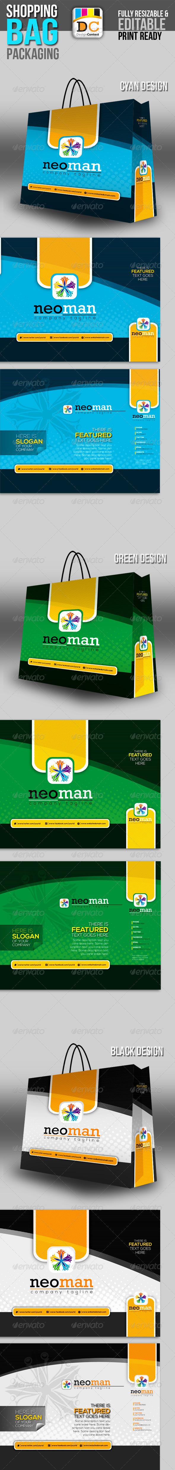 Neo Man Shopping Bag Packaging - Packaging Print Templates