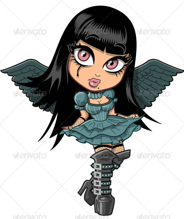 Cute Goth Girl With Wings - Characters Vectors