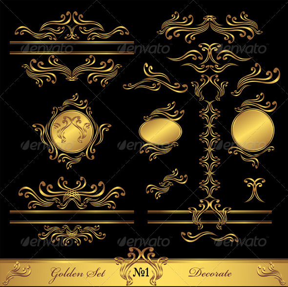 Golden Set Calligraphic and Decorate elements  - Decorative Vectors