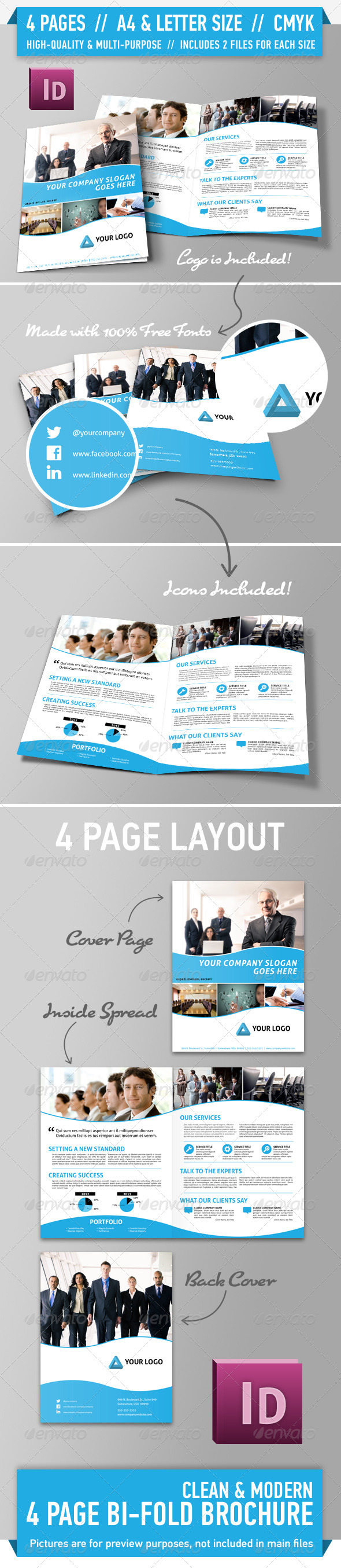 Clean Modern Bifold Brochure - Vol. 1 - Corporate Brochures