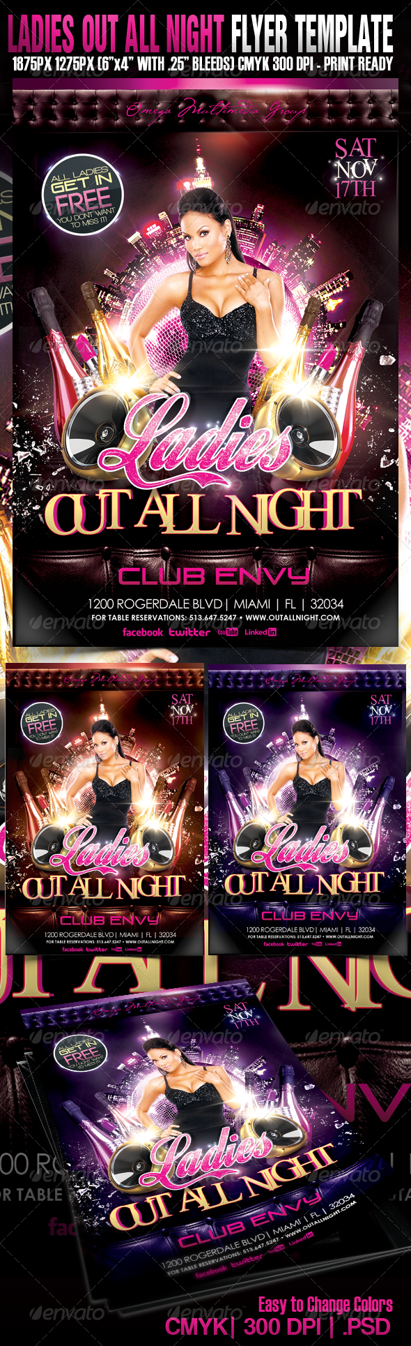 Ladies Out All Night - Events Flyers