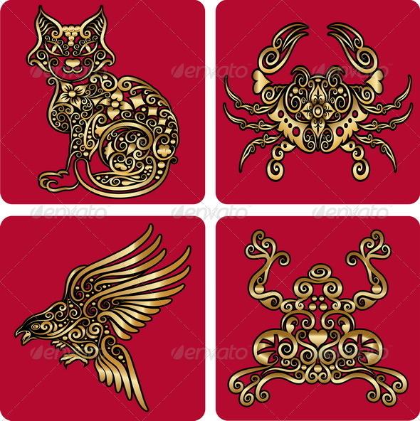 Golden ornaments 2 (cat, crab, etc) - Decorative Symbols Decorative