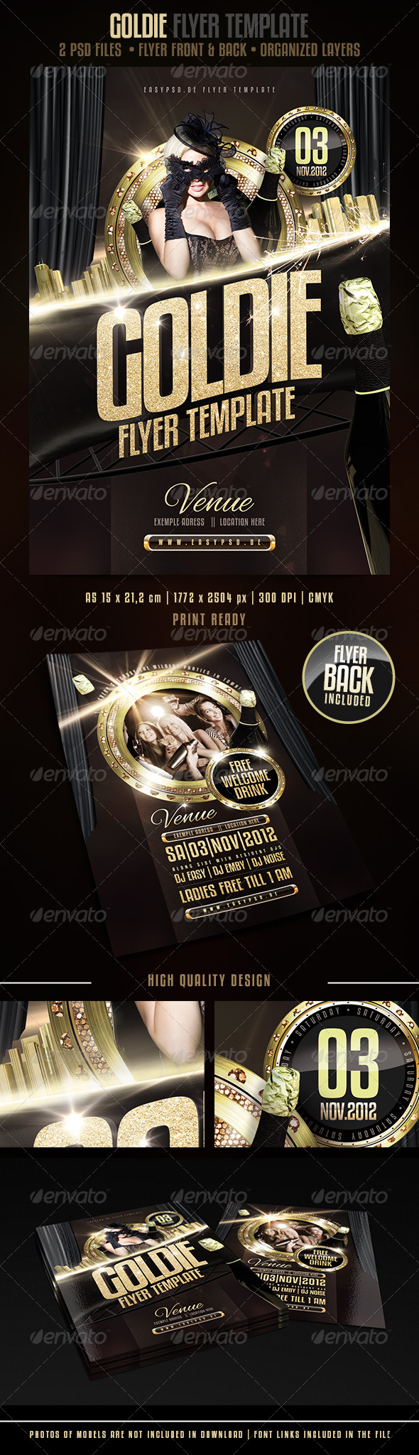 GOLDIE Flyer Template - Clubs & Parties Events