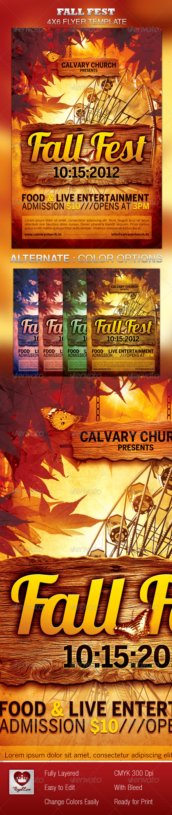 Fall Fest Church Flyer Template - Church Flyers