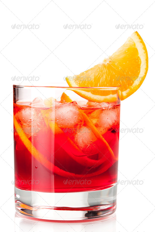 Alcohol cocktail collection - Negroni with orange slice - Stock Photo - Images