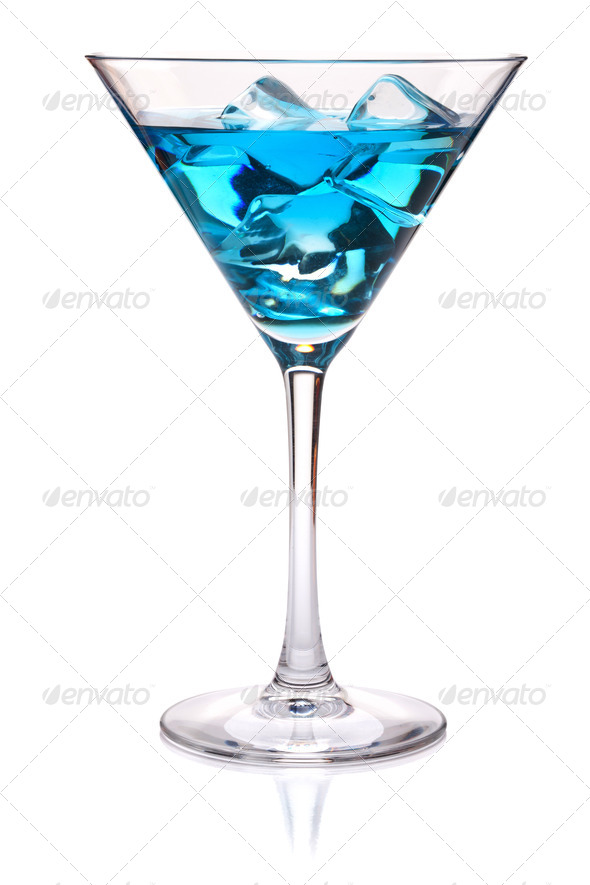 Blue tropical cocktail in martini glass - Stock Photo - Images