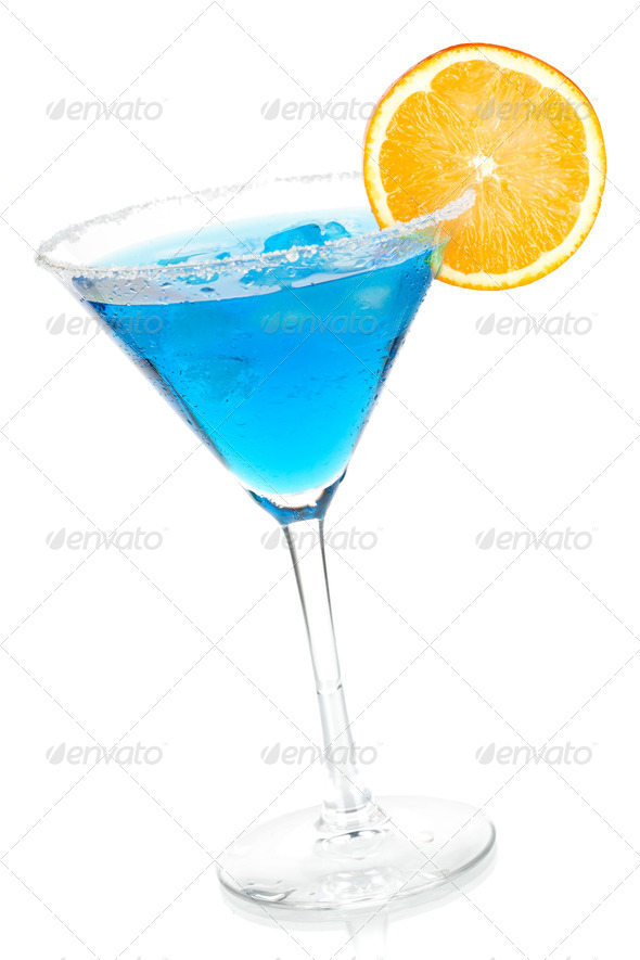 Cocktail collection - Blue martini with orange slice - Stock Photo - Images