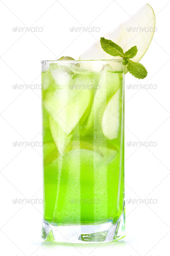Green cocktail with apples and mint - Stock Photo - Images