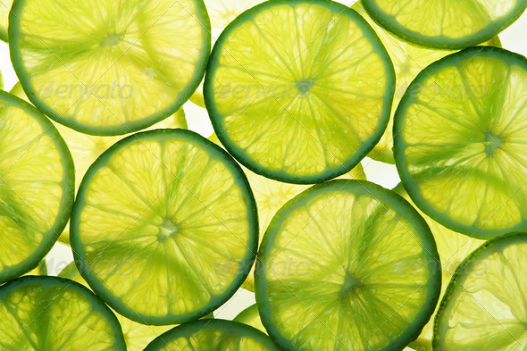 Green lime slices in many layers - Stock Photo - Images