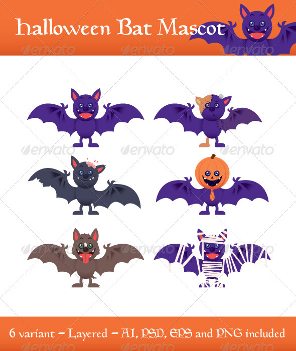 Halloween Bat Mascot - Animals Characters
