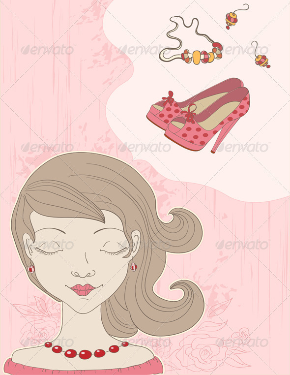 Pink  Background with Girl - People Characters