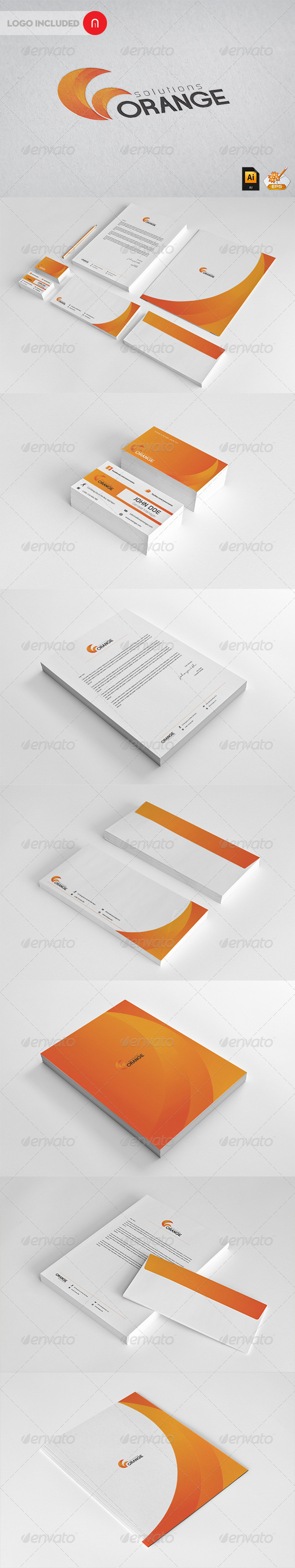 Corporate Startioney  Orange Solutions - Stationery Print Templates