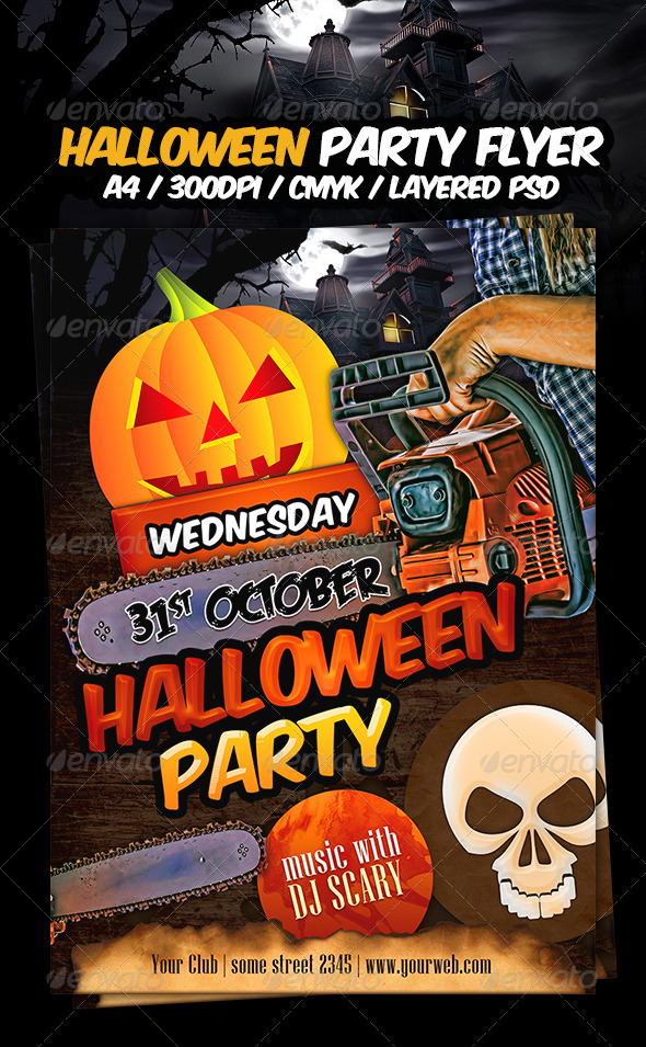 Halloween party flyer template by dodimir graphicriver for Free halloween flyer templates