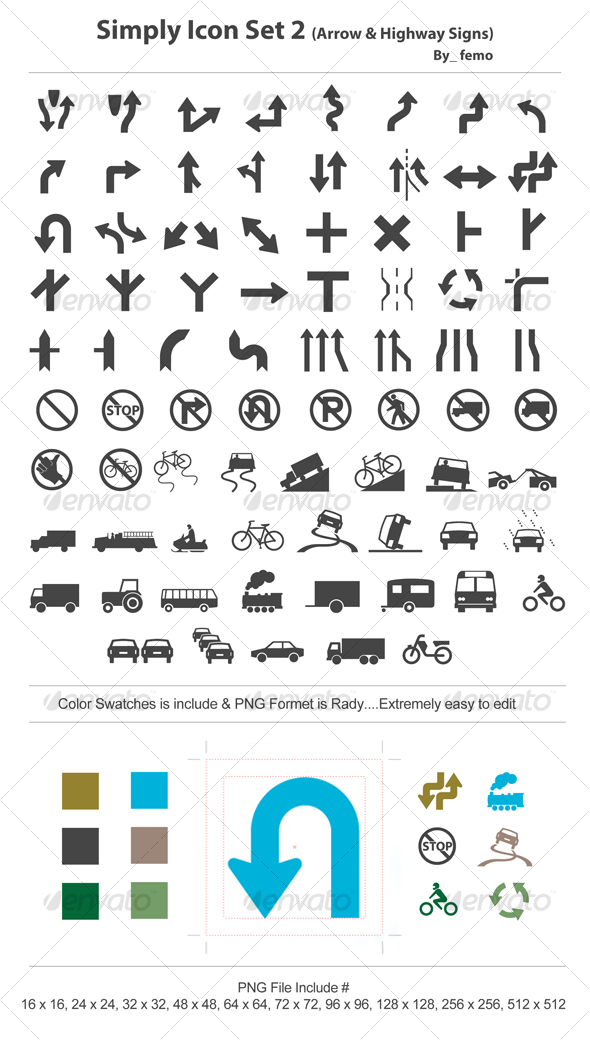 Simply Icon Set 2 (Arrow & Highway Signs) - Web Icons