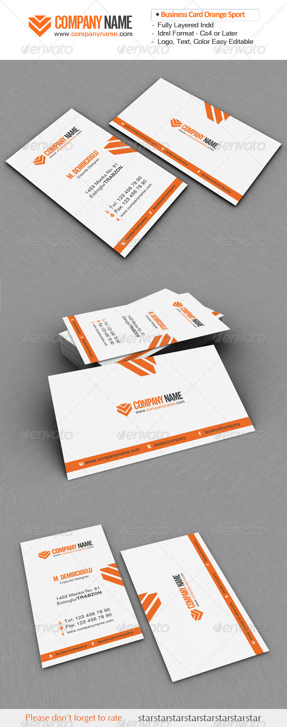 Business Card Orange Sport 01 - Corporate Business Cards