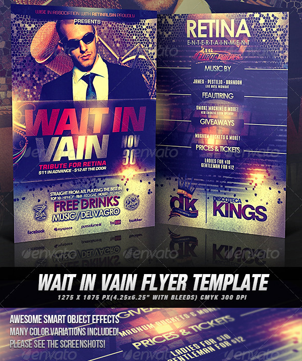 Wait In Vain Flyer Template - Clubs & Parties Events