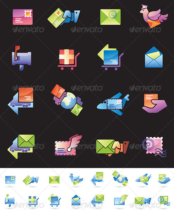 Shipping and Mail Delivery Icons Set - Web Elements Vectors
