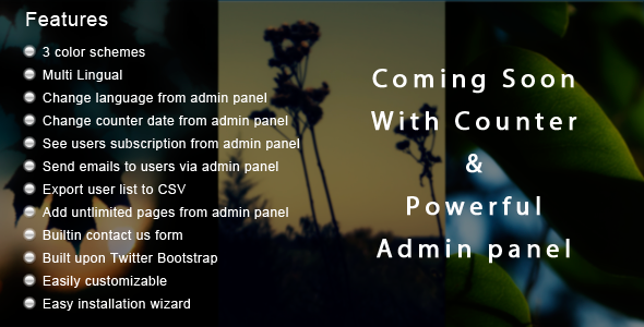 Coming Soon App With Admin Panel - CodeCanyon Item for Sale