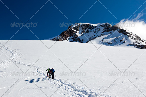 Mountaineers walking on Monte Rosa Glacier - Stock Photo - Images
