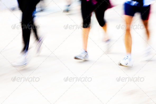 Runners legs with panning blur - Stock Photo - Images