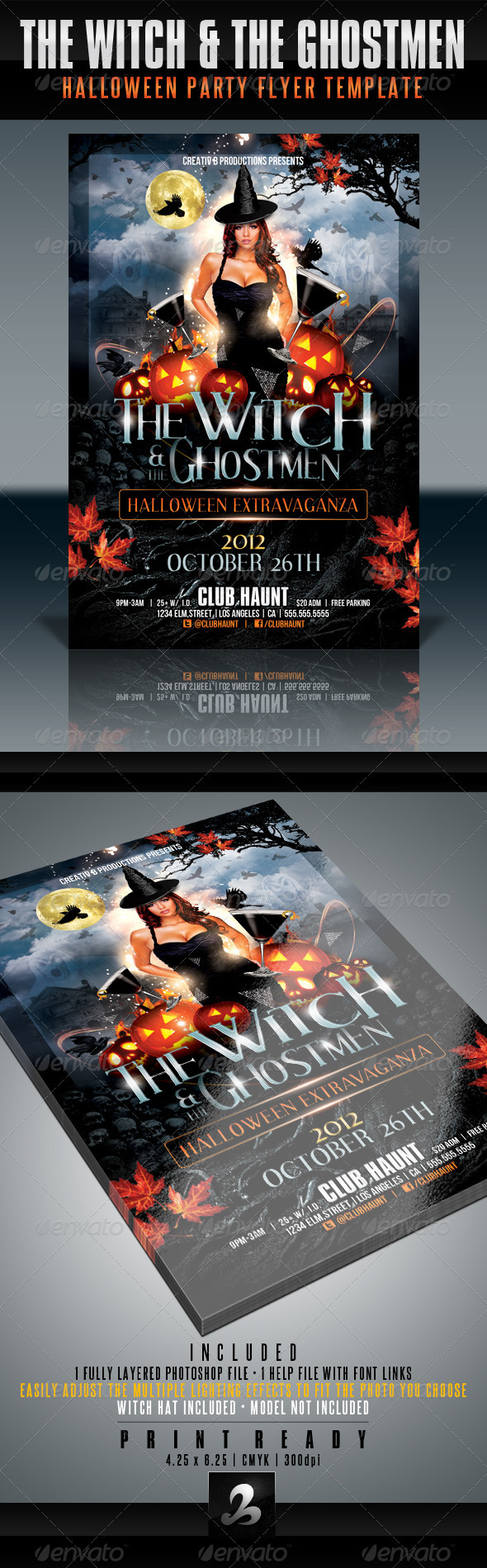 Witch and Ghostmen Halloween Flyer Template - Clubs & Parties Events