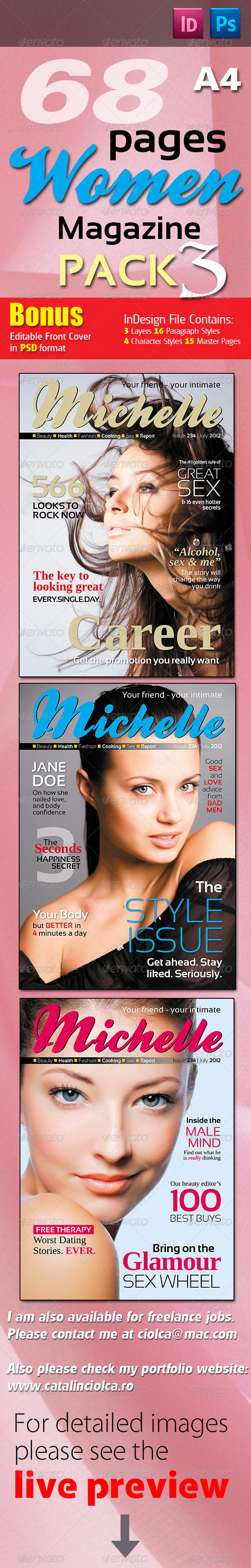 68 Pages Women Magazine Pack Three - Magazines Print Templates