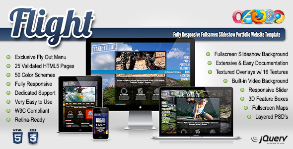 Flight – Responsive Fullscreen Background Template