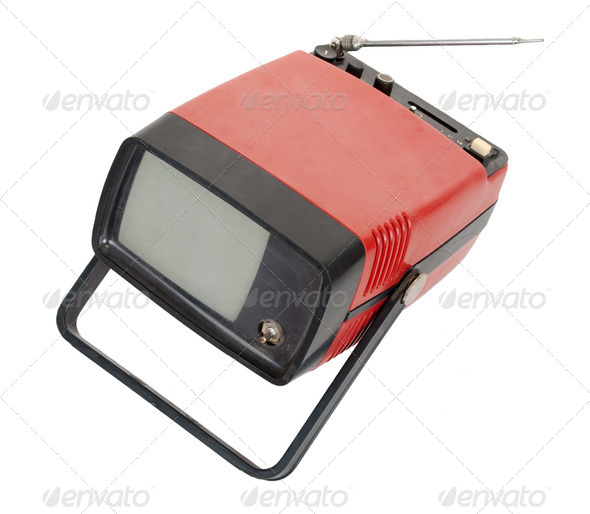 Vintage red portable TV - Stock Photo - Images