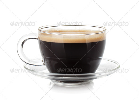 Espresso coffee in glass cup - Stock Photo - Images