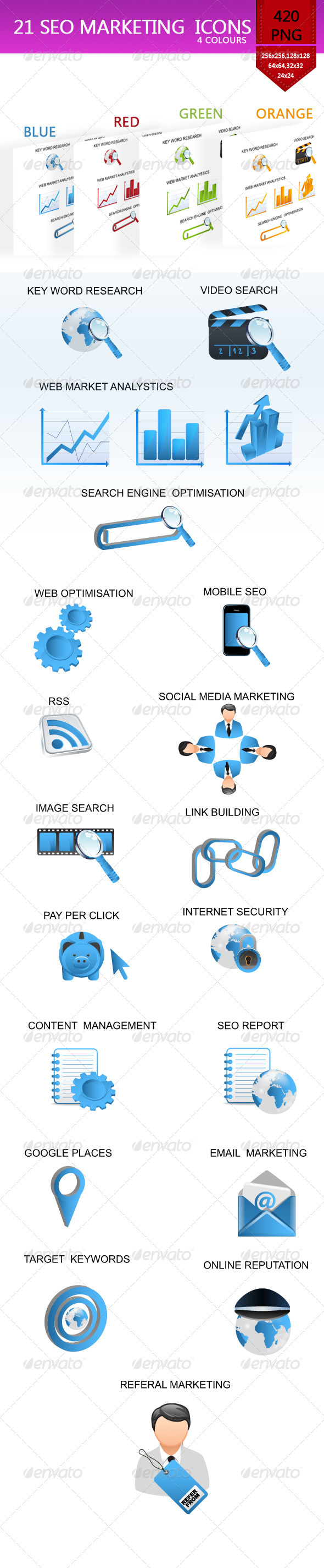 21 Glossy SEO Service Icons - Web Elements Vectors