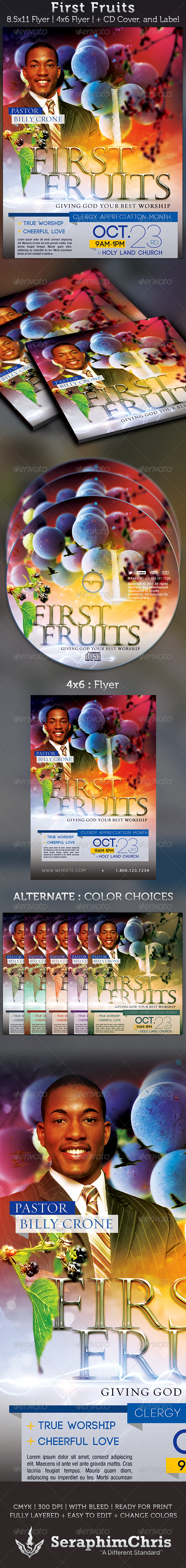 First Fruits: Church Flyer and CD Cover Template - Church Flyers