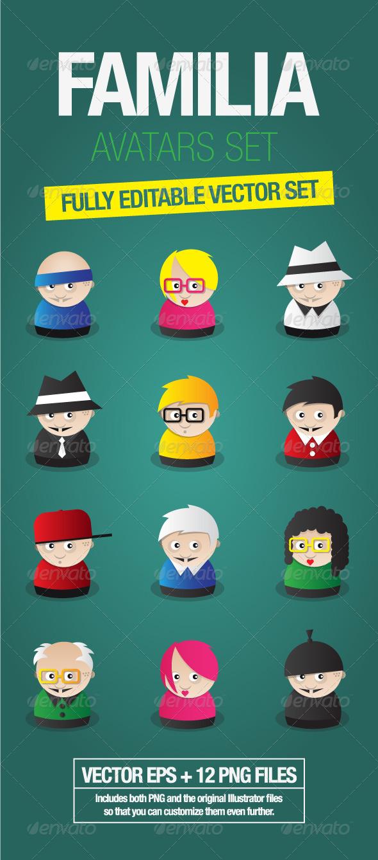 Familia Avatars Set - Characters Vectors
