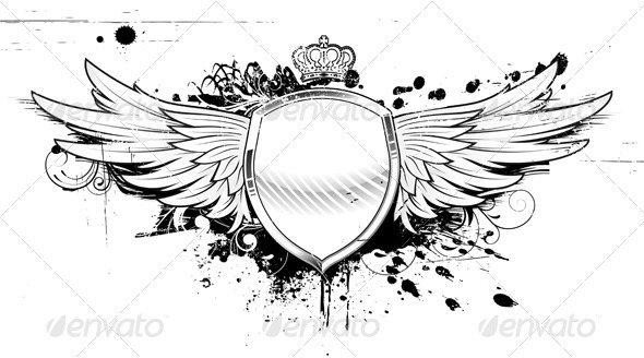 grunge heraldic shield - Decorative Vectors