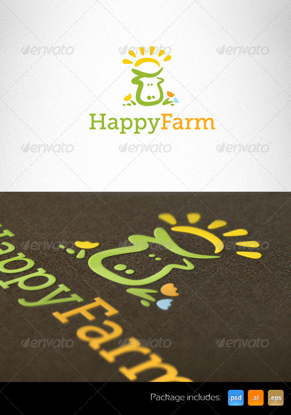 Happy Farm Natural Logo Template - Animals Logo Templates