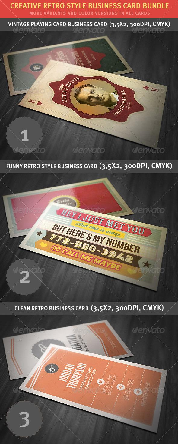 Creative Retro Business Card Bundle - Retro/Vintage Business Cards