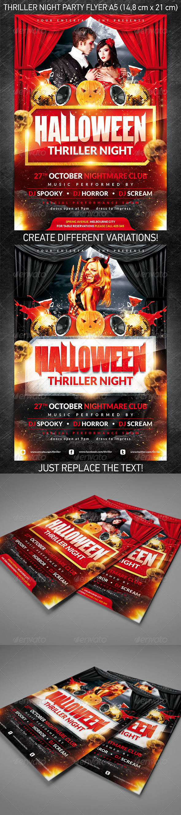 Halloween Thriller Night Party Flyer - Holidays Events