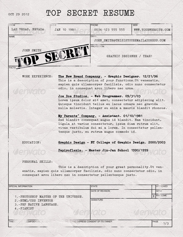 top secret resume cv by dengio