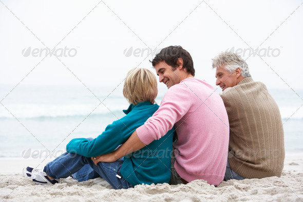 Grandfather, Father And Grandson Sitting On Winter Beach - Stock Photo - Images