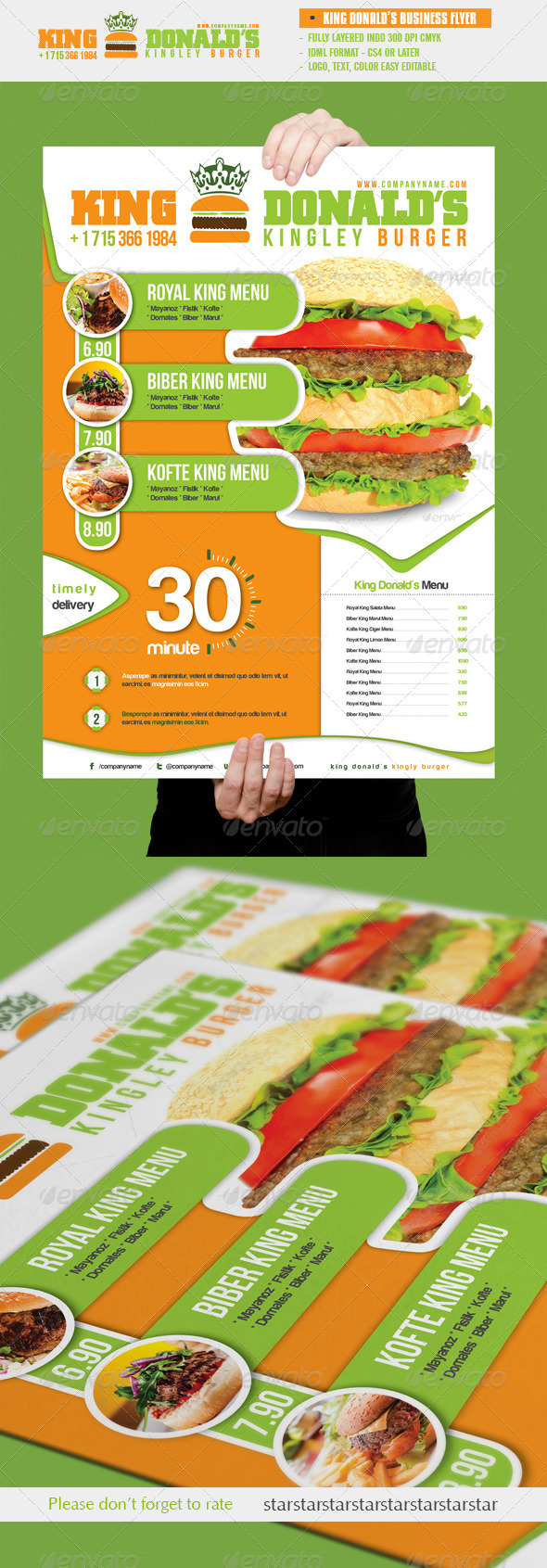 King Donald's Burger Flyer - Restaurant Flyers
