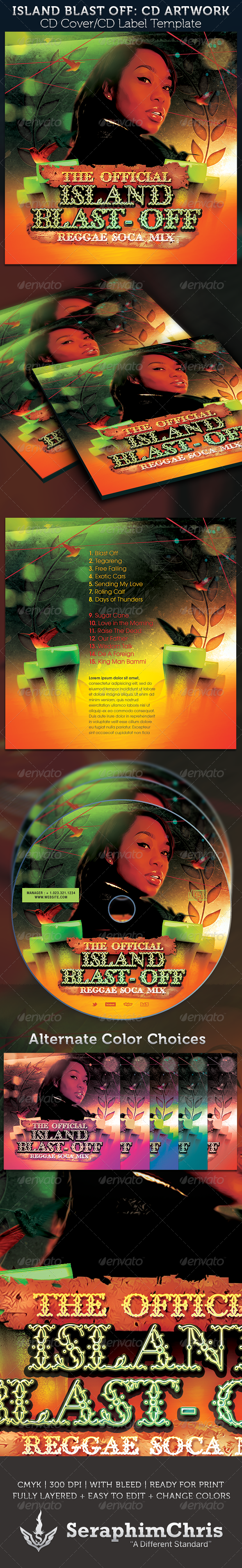 Island Blast Off: CD Cover Artwork Template - CD & DVD Artwork Print Templates