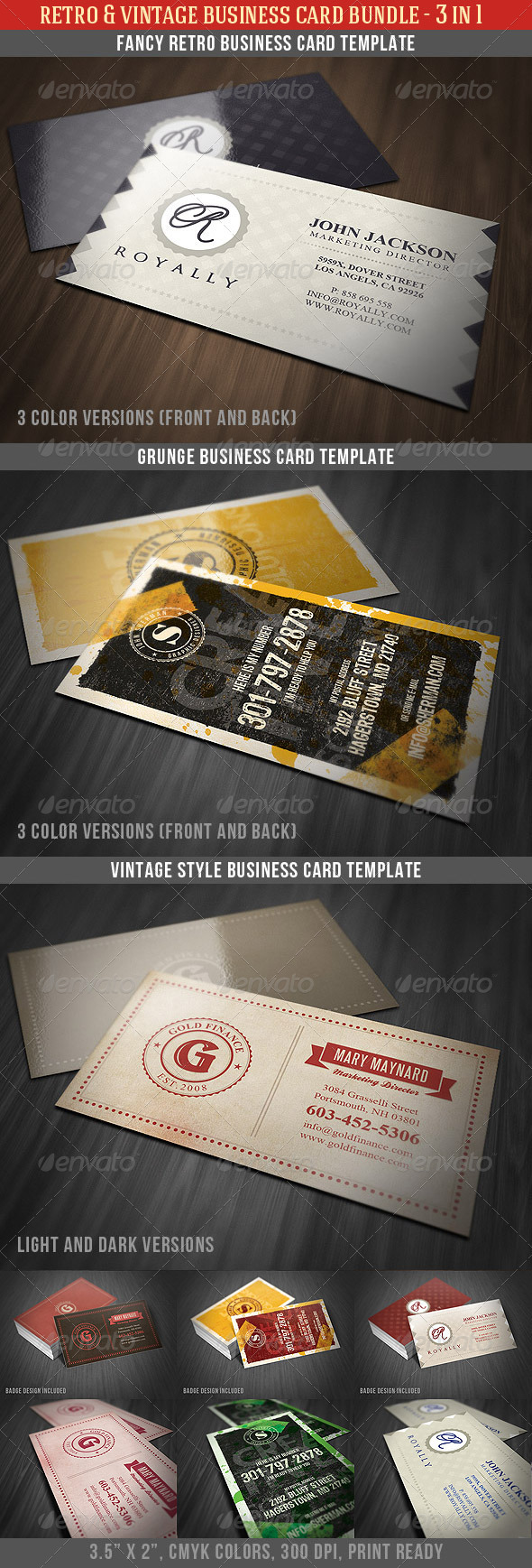 Retro & Vintage Business Card Bundle - Retro/Vintage Business Cards