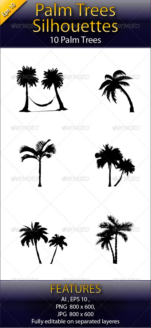 Palm Tree Silhouettes - Flowers & Plants Nature