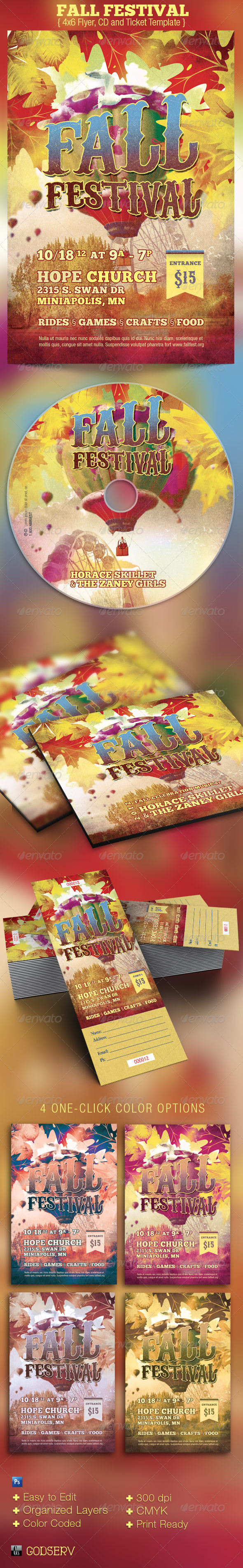 Fall Festival Flyer CD Ticket Template - Church Flyers