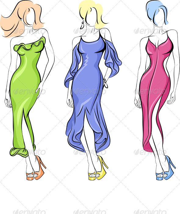 Vector Set of Fasion Beautiful Top-Model - People Characters